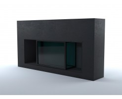 Black concrete fireplace