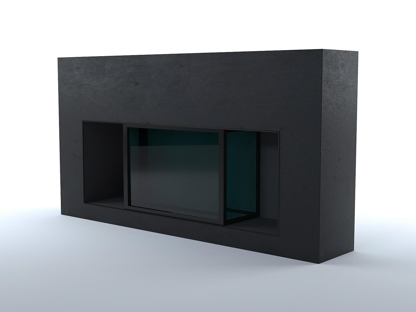 Black concrete fireplace