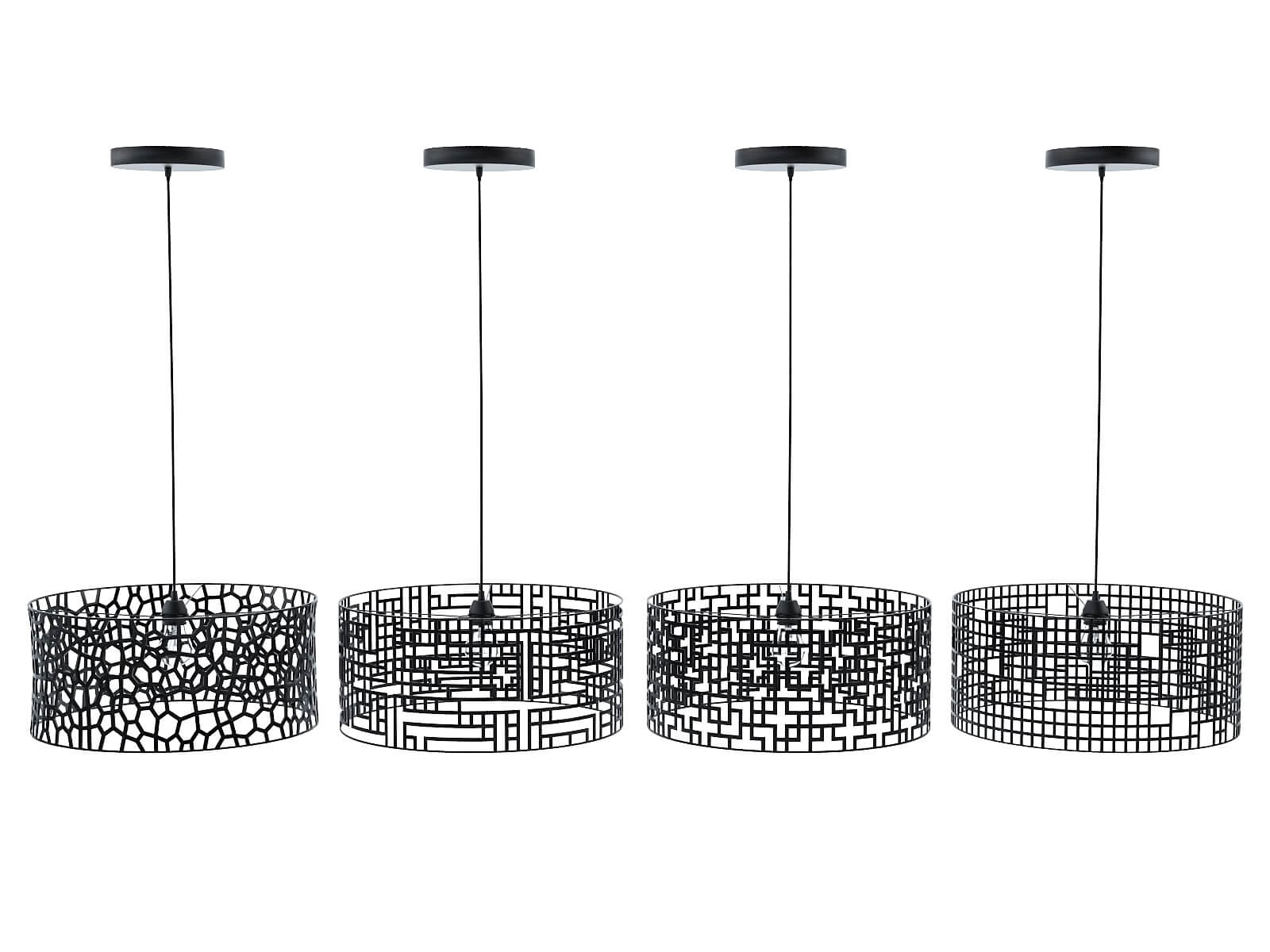Black patterned lamps collection