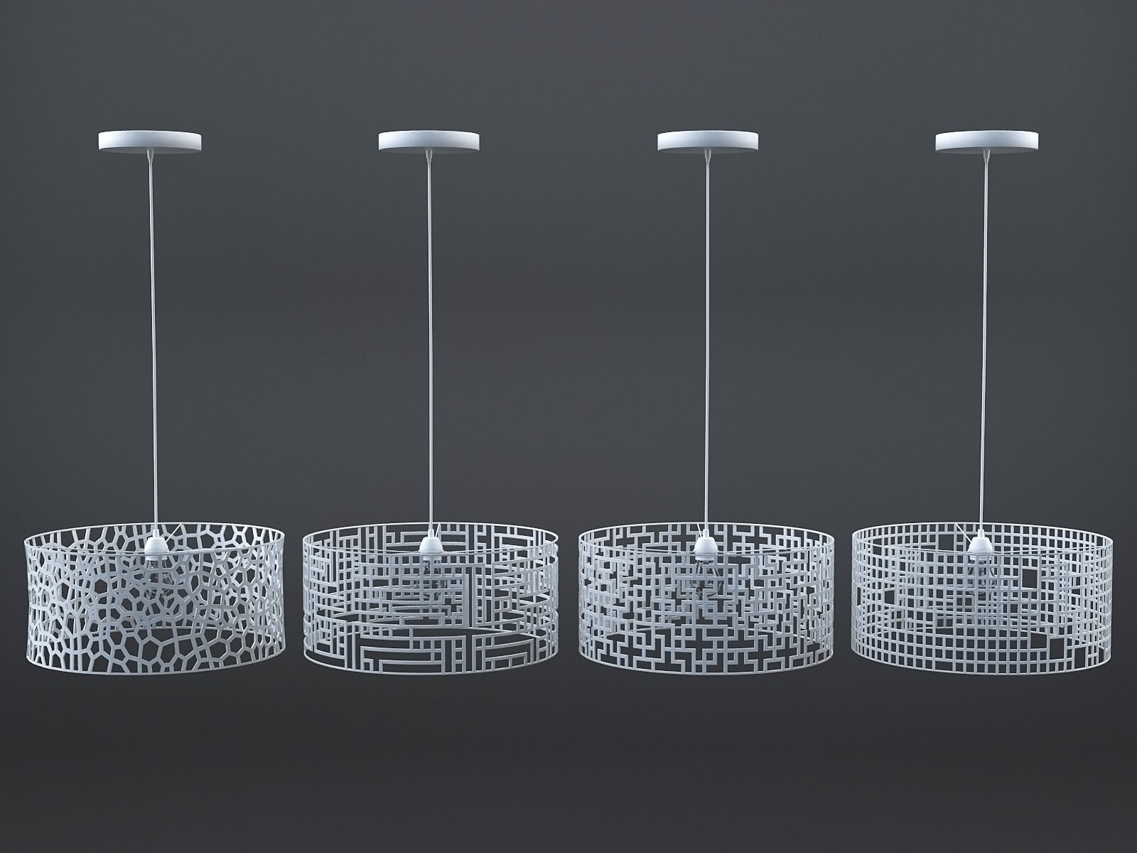 White patterned lamps collection