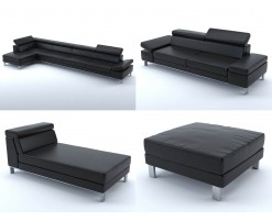 Collection 2 : black leather sofas