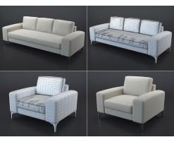 Canapé et fauteuil Vittorio (beige)
