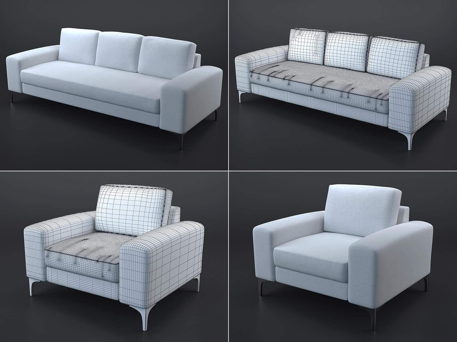 Vittorio sofa and armchair (white)