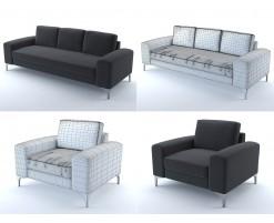 Canapé et fauteuil Vittorio (noir)