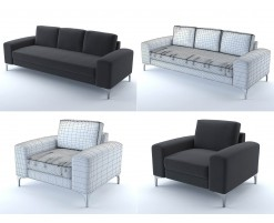 Vittorio sofa and armchair (black)