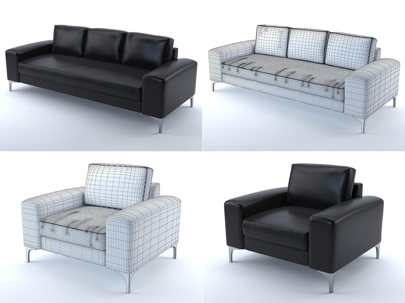 Canapé et fauteuil Vittorio (cuir noir)