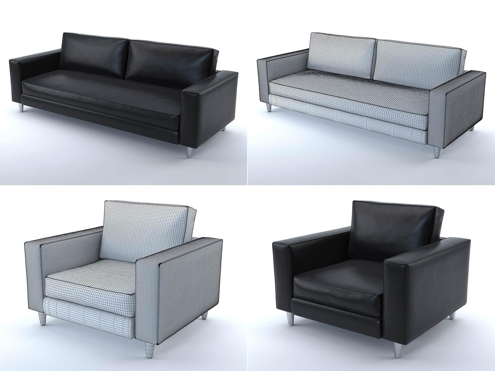 Canapé et fauteuil Scott (cuir noir)