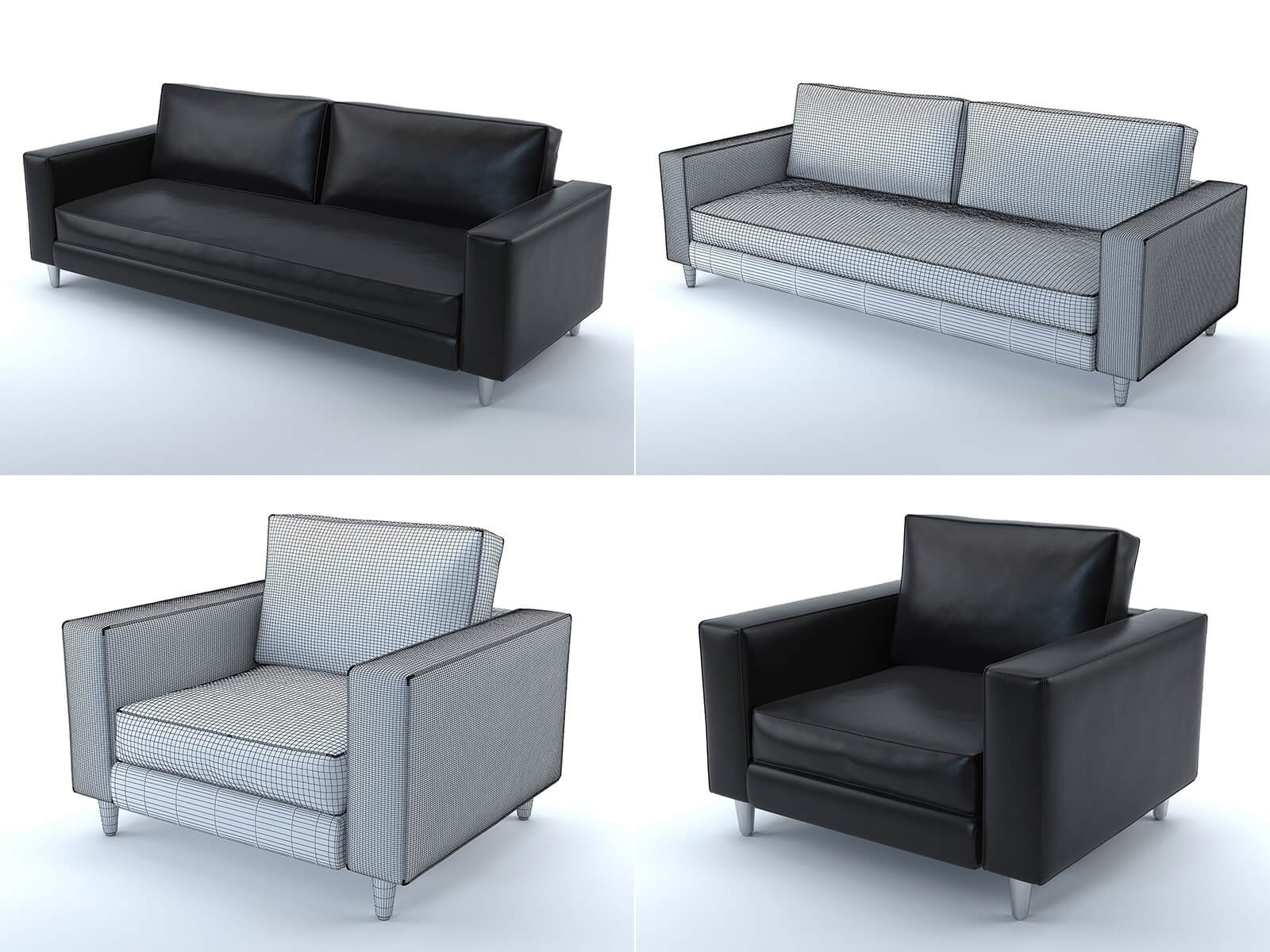 Scott sofa and armchair (black leather)