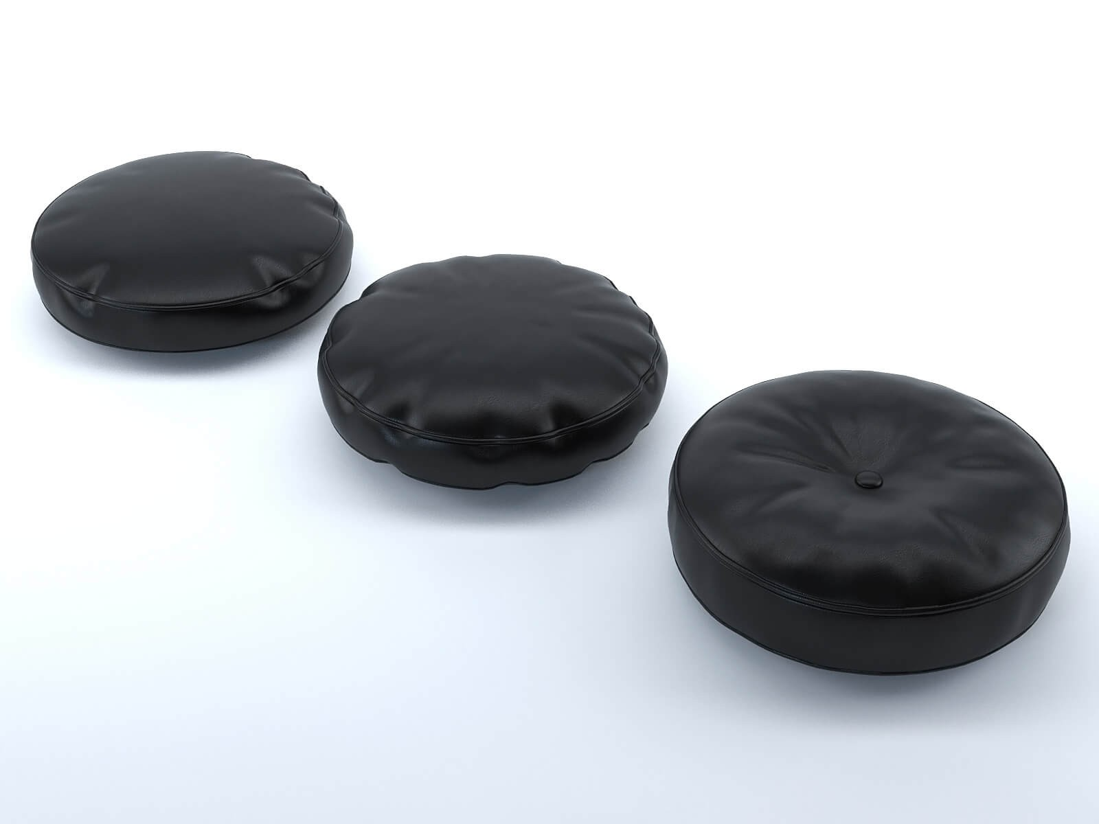 Black leather round cushions (set of 3)