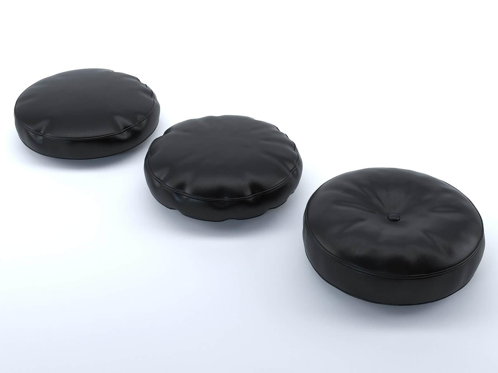 Coussins ronds cuir noir (lot de 3)