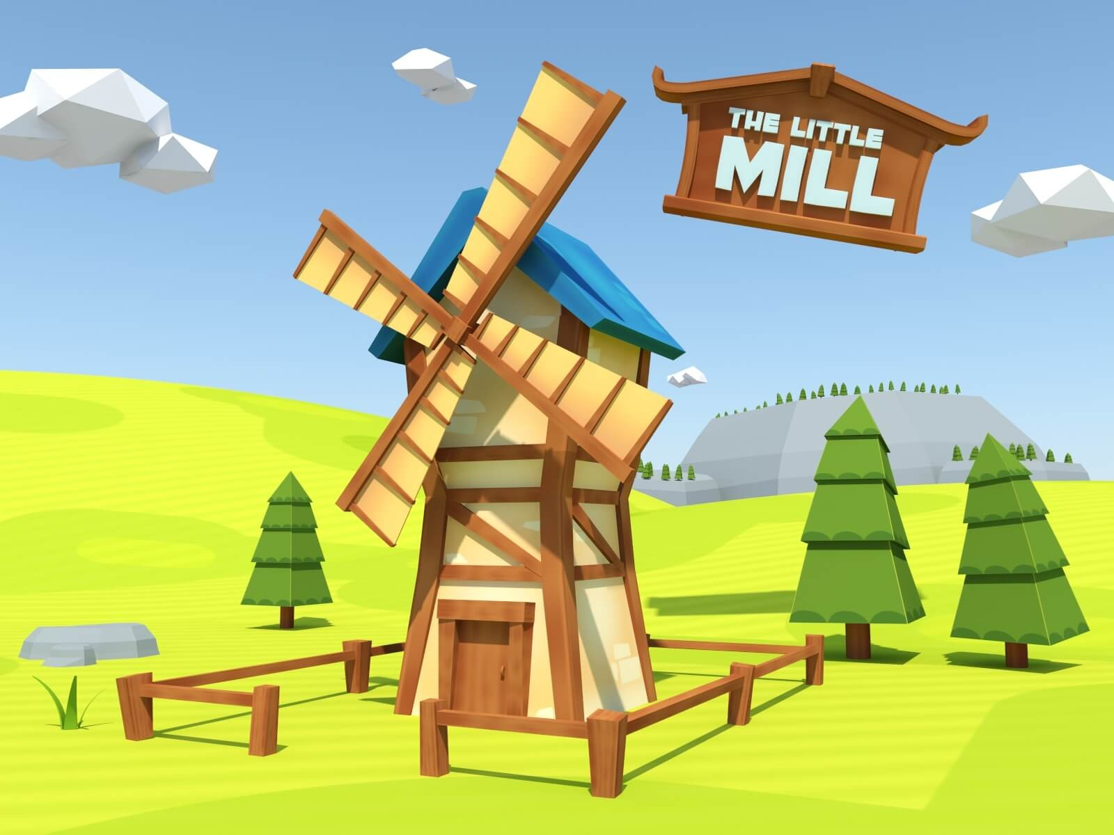 Moulin assets low poly