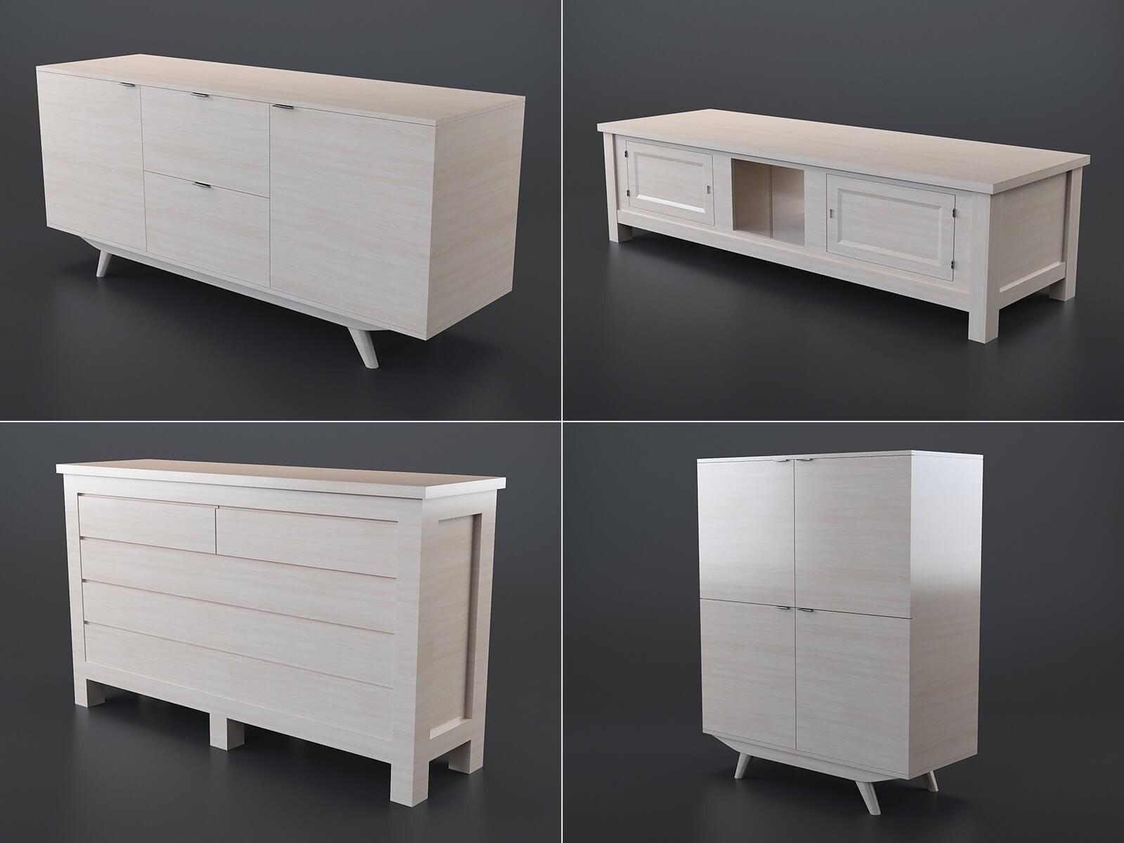 Collection meubles en bois (lot de 4)