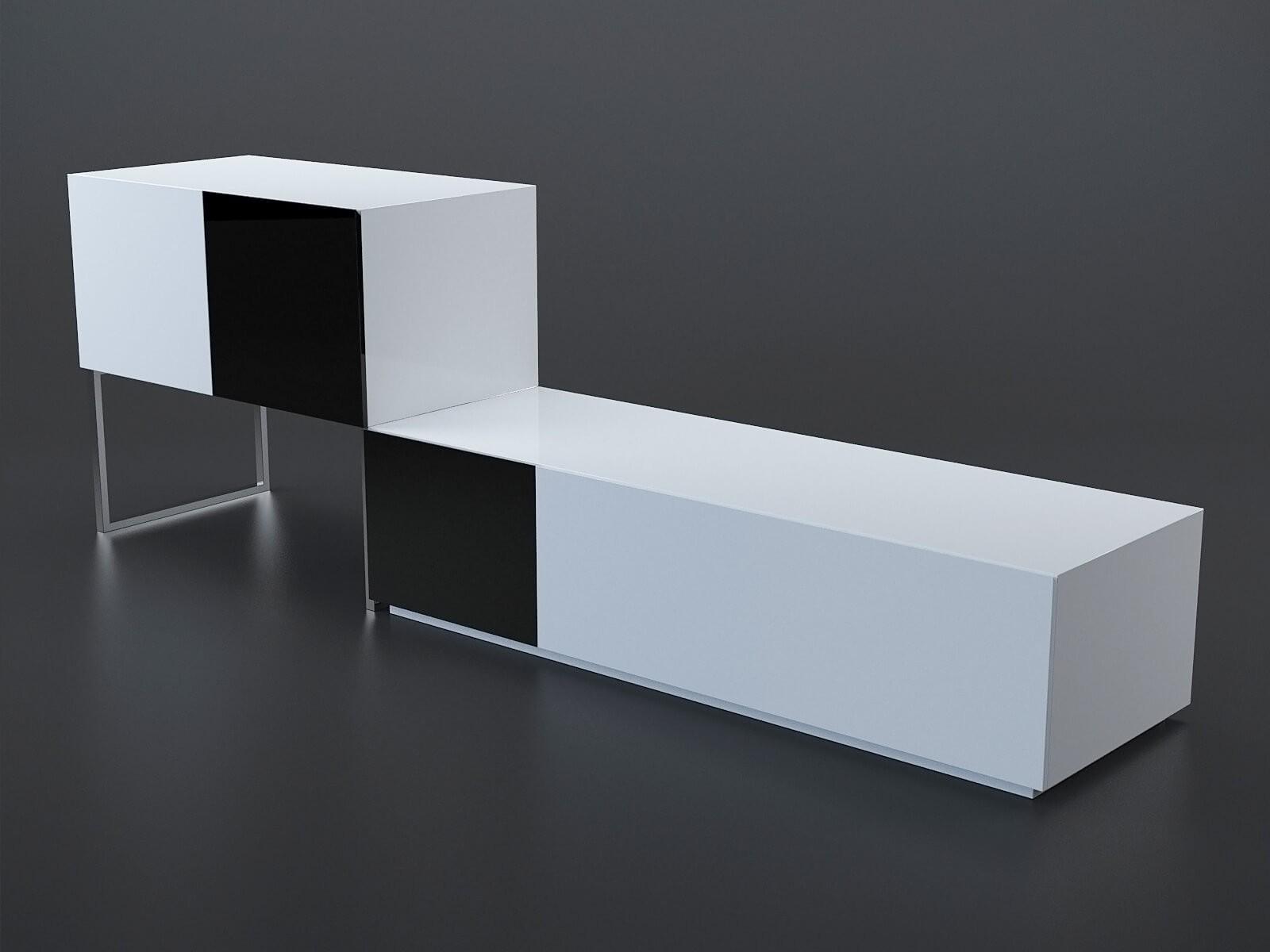 Buffet noir et blanc modèle 3D