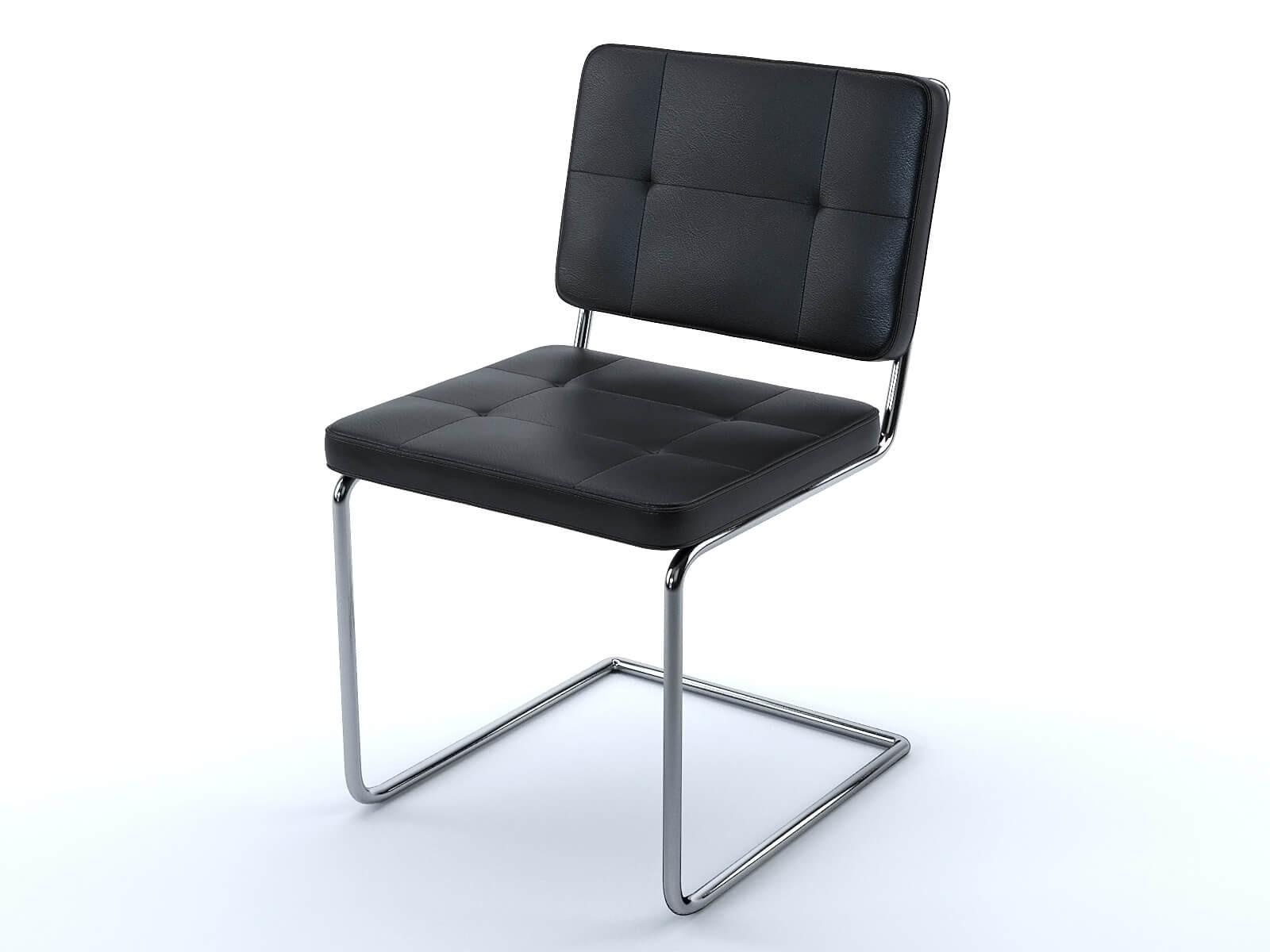 Chaise Aston en cuir noir