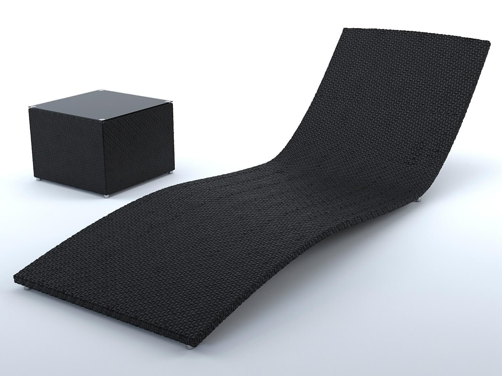 Chaise Longue Exterieur Osier Noir Modele 3d