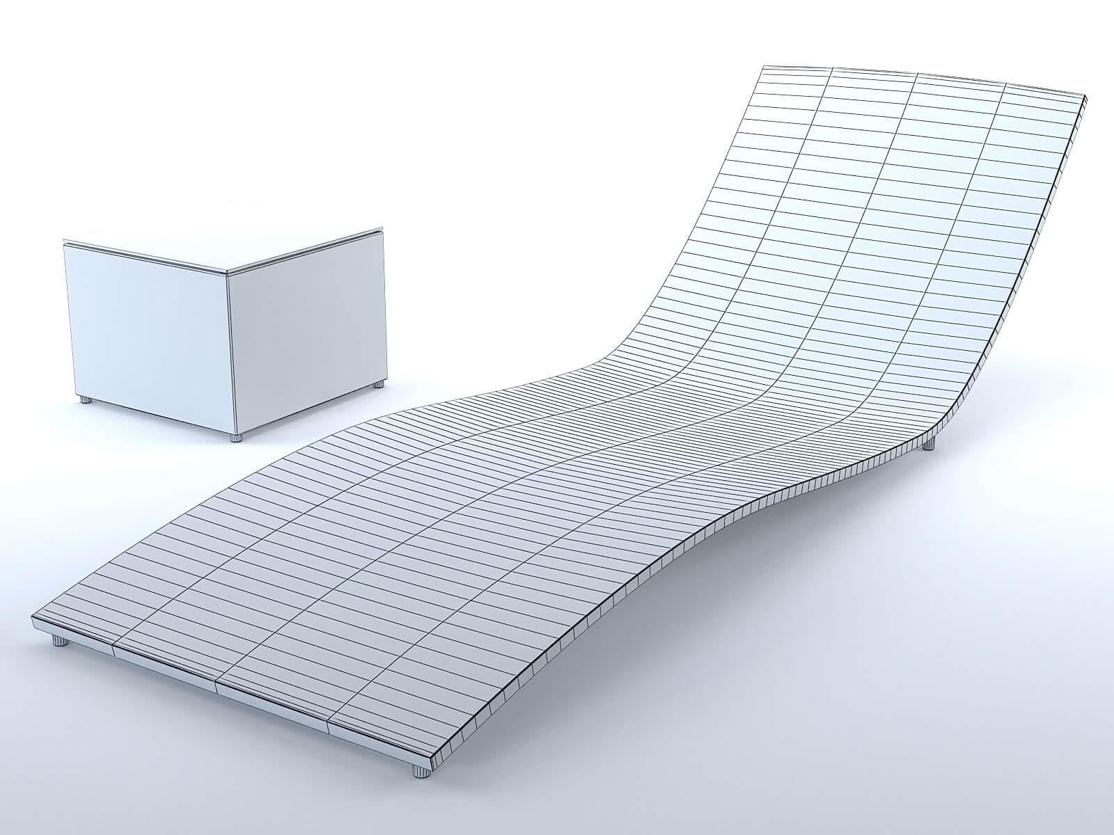 chaise longue ext rieur osier noir mod le 3d. Black Bedroom Furniture Sets. Home Design Ideas